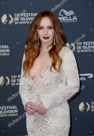 Camryn Grimes poses on the red carpet while arriving for the opening ceremony of the 59th Monte Carlo Television Festival in Monaco, 14 June 2019. The TV festival runs from 14 to 18 June.