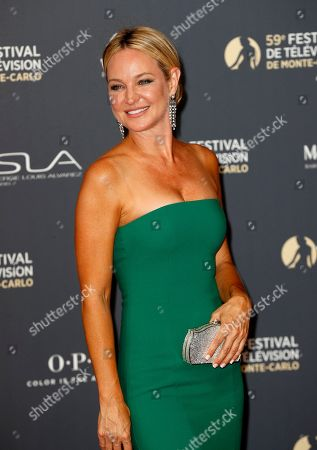 Sharon Case poses on the red carpet while arriving for the opening ceremony of the 59th Monte Carlo Television Festival in Monaco, 14 June 2019. The TV festival runs from 14 to 18 June.