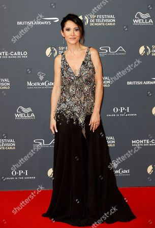 Stock Photo of Fabienne Carat poses on the red carpet while arriving for the opening ceremony of the 59th Monte Carlo Television Festival in Monaco, 14 June 2019. The TV festival runs from 14 to 18 June.
