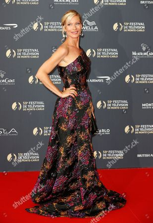 Rebecca Hampton poses on the red carpet while arriving for the opening ceremony of the 59th Monte Carlo Television Festival in Monaco, 14 June 2019. The TV festival runs from 14 to 18 June.