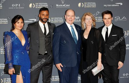 Marie Chevallier (L), British actor Ricky Whittle (2-L), Prince Albert II of Monaco (C), US filmmaker Rory Kennedy (2-R) and son of Princess Stephanie of Monaco, Louis Ducruet (R) pose on the red carpet while arriving for the opening ceremony of the 59th Monte Carlo Television Festival in Monaco, 14 June 2019. The TV festival runs from 14 to 18 June.