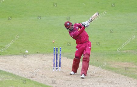SOUTHAMPTON, ENGLAND. 14 JUNE Shannon Gabriel of West Indies is bowled out by Mark Wood of England during the England v West Indies, ICC Cricket World Cup match, at The Ageas Bowl, Southampton, England, 14 19