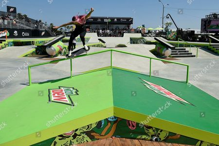 Stock Picture of Leticia Bufoni, of Brazil, competes during the Dew Tour skateboard women's street semifinals in Long Beach, Calif