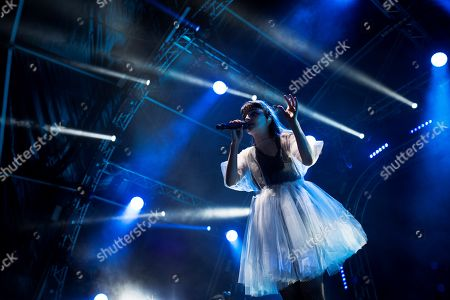 Lauren Mayberry of Scottish band Chvrches performs on stage at Paraiso Festival at Complutense University in Madrid, Spain, 14 June 2019.