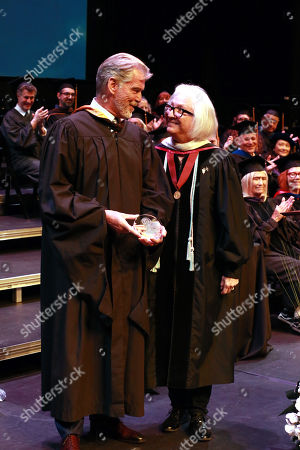 Pierce Brosnan and Teri Schwartz - Dean of the UCLA School of Theater, Film and Television