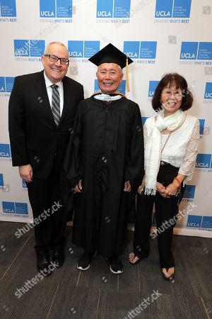 Stock Photo of Brad Altman, George Takei and Nancy Reiko Takei