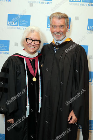Teri Schwartz - Dean of the UCLA School of Theater, Film and Television and Pierce Brosnan