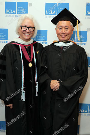 Stock Photo of Teri Schwartz - Dean of the UCLA School of Theater, Film and Television and George Takei