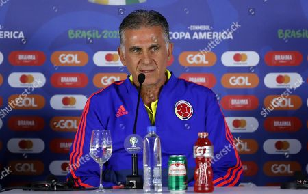 Colombia's national soccer team head coach Portuguese Carlos Queiroz speaks during a press conference accompanied by Colombian player Cristian Zapata at Arena Fonte Nova stadium in Salvador, Brazil, 14 June 2019.