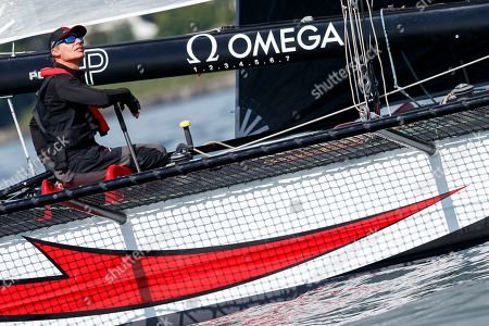 Swiss skipper Ernesto Bertarelli on his M1 class D35 sailboat 'Alinghi 1' at the start of the 81st 'Bol d'Or' sailing race on Lake Geneva in Geneva, Switzerland, 15 June 2019. This weekend's Bol d'Or is the largest sailing race held on a lake in Europe with 465 boats participating.