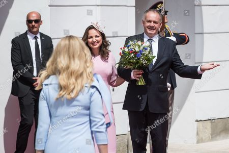 Outgoing president Andrej Kiska (R) and his wife Martina Kiskova (C) welcome Slovak new President Zuzana Caputova at the Presidential Palace in Bratislava, Slovakia, 15 June 2019. Caputova is Slovak first female president elected by citizens in March 2019.