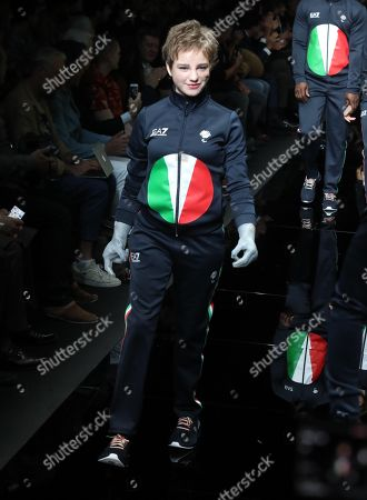 Italian Paralympic champion Bebe Vio presents a creation of Emporio Armani during the Milan Fashion  Week, in Milan, Italy, 15 June 2019. The Spring Summer 2020 Men's collections are presented at the Milano Moda Uomo from 14 to 17 June.