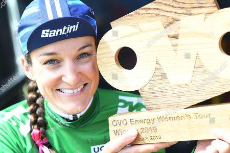 The Velodrome Carmarthen to Pembrey Country Park - Winner Trek Segafredo LIZZIE DEIGNAN with the OVO Energy Trophy