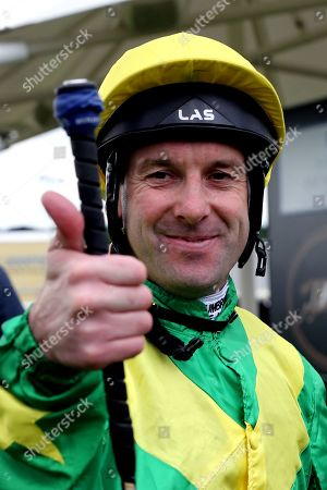 Stock Picture of Jockey Robert Winston gives the thumbs up after winning The Pavers Foundation Catherine Memorial Sprint over 6f (£100,000) on RECON MISSION during the MacMillan Charity Raceday held at York Racecourse, York
