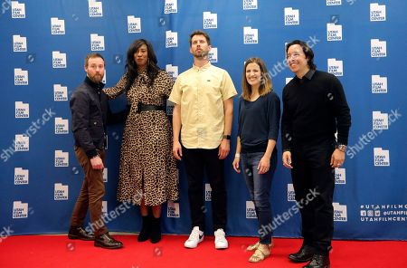 "Aaron Ruell, Shondrella Avery, Jon Heder, Emily Dunn, Efren Ramirez. From left to right, Aaron Ruell (Kip), Shondrella Avery (LaFawnduh), Jon Heder (Napoleon Dynamite), Emily Dunn (Trisha) and Efren Ramirez (Pedro) pose during a photo-op as they celebrate the 15th anniversary of the cult classic comedy ""Napoleon Dynamite,"" in Salt Lake City"