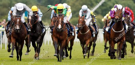 RECON MISSION (centre, Robert Winston) beats VICTORY DAY (left) in The Pavers Foundation Catherine Memorial Sprint Handicap York
