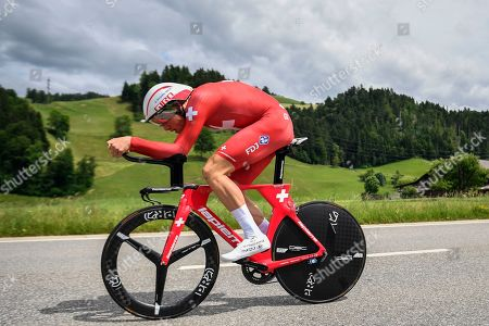 Stefan Kueng from Switzerland of Groupama-FDJ in action during the prologue, a 9.5 km race against the clock, with start and finish in Langnau im Emmental, Switzerland, at the 83st Tour de Suisse UCI ProTour cycling race, 15 June 2019.