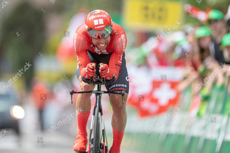 Stock Image of Michael Matthews from Australia of Team Sunweb during the 1th stage, a 9.5 km time trial in Langnau i. E. , Switzerland, at the 83st Tour de Suisse UCI WorldTour cycling race, on Saturday, June 15, 2019.