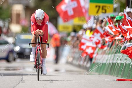 Swiss rider Stefan Kueng of the Groupama-FDJ team in action during the prologue, a 9.5km individual time trial, of the 83rd Tour de Suisse UCI ProTour cycling race in Langnau im Emmental, Switzerland, 15 June 2019.