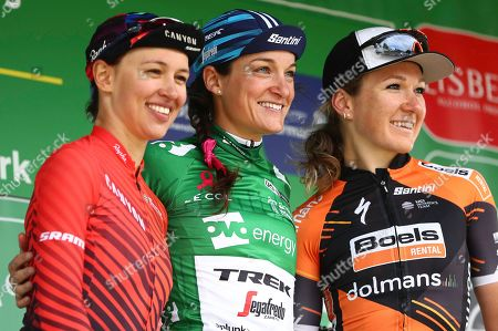 Stock Picture of Trek Segafredo's Lizzie Armitstead celebrates winning of the Women's Tour of Britain 2019 with Canyon SRAM's Kasia Niewiadoma & Boels Dolmans' Amy Pieters.