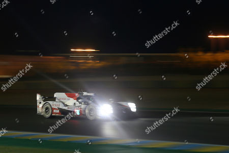 The Toyota TS050 Hybrid No8 of the Toyota Gazoo Racing Team driven by Mike Conway of Britain, Kamui Kobayashi of Japan and Jose Maria Lopez of Argentina in action during the night of the 87th 24-hour Le Mans endurance race, in Le Mans, western France