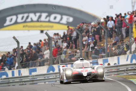 The Toyota TS050 Hybrid No7 of the Toyota Gazoo Racing Team driven by Mike Conway of Britain, Kamui Kobayashi of Japan and Jose Maria Lopez of Argentina in action during the 87th 24-hour Le Mans endurance race, in Le Mans, western France