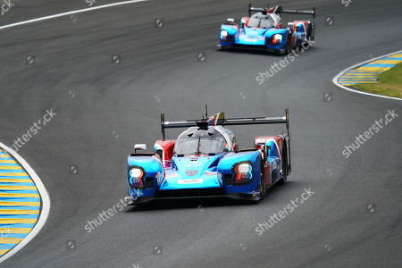SMP Racing (starting no.11) in a BR engineering BR1 AER with Vitaly Petrov of Russia, Mikhail Aleshin of Russia and Stoffel Vandoorne of Belgium in front of SMP Racing (starting no.17) in a BR engineering BR1 AER with Stephane Sarrazin of France, Egor Orudzhev of Russia and Sergey Sirotkin of Russia in action during the Le Mans 24 Hours race in Le Mans, France, 15 June 2019. The race is scheduled to finish at 3pm on the 16 June.