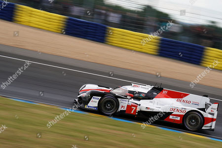 Toyota Gazoo Racing (starting no.7) in a Toyota TS050 Hybrid with Mike Conway of Great Britain, Kamui Kobayashi of Japan and Jose Maria Lopez of Argentina in action during the Le Mans 24 Hours race in Le Mans, France, 15 June 2019.  The race is scheduled to finish at 3pm on the 16 June.