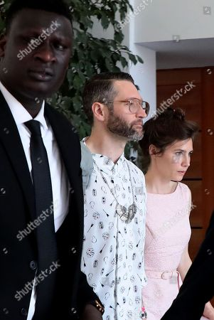 Amanda Knox (R) with her boyfriend Christopher Robinson (2-L)  during the conference of the Criminal Justice Festival at the University of Modena, Italy, 15 June 2019. Knox, who was cleared of murdering her British flatmate Meredith Kercher in Perugia after a long legal battle and almost four years in jail, arrived on 13 June in Milan before travelling to Modena to take part in an event at the Criminal Justice Festival.