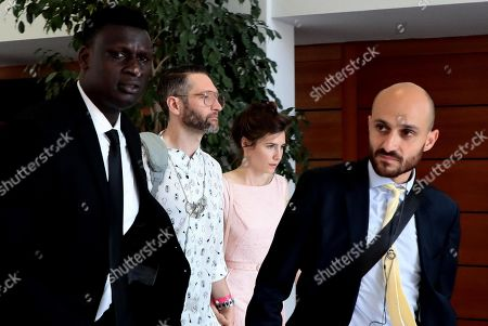 Stock Photo of Amanda Knox (2-R) with her boyfriend Christopher Robinson (2-L)  during the conference of the Criminal Justice Festival at the University of Modena, Italy, 15 June 2019. Knox, who was cleared of murdering her British flatmate Meredith Kercher in Perugia after a long legal battle and almost four years in jail, arrived on 13 June in Milan before travelling to Modena to take part in an event at the Criminal Justice Festival.