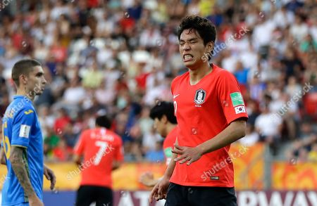 South Korea's Oh Se-hun reacts after a missed chance to score during the final match between Ukraine and South Korea at the U20 World Cup soccer in Lodz, Poland