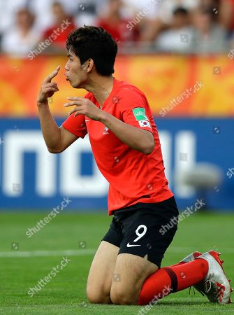 South Korea's Oh Se-hun gestures during the final match between Ukraine and South Korea at the U20 World Cup soccer in Lodz, Poland