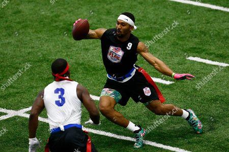 Will Cole, Darryl Jones. TMT's Will Cole runs around Strong Island Bulldogs' Darryl Jones during the American Flag Football League Tournament in Florham Park, N.J