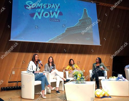 Panelist, from left, Catt Sadler, formerly of E!, hockey player Hilary Knight, retired soccer player and ESPN commentator Julie Foudy and tennis star Venus Williams discuss gender pay inequity, at a forum hosted by lUNA Bar at the Salon Gustave in the Eiffel Tower, Paris, France
