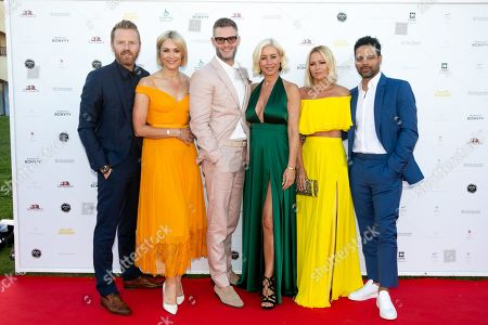 Stock Image of James Midgley and Jenni Falconer, Eddie Boxshall and Denise Van Outen and Kimberley Walsh and Justin Scott