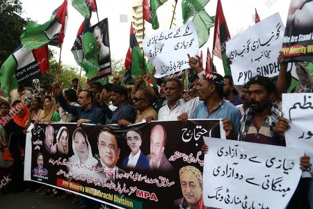 Supporters of opposition party Pakistan Peoples Party protest against the arrest of party's chairman and former President Asif Ali Zardari by the accountability body NAB, in Karachi, Pakistan, 15 June 2019. The co-chairman of the opposition Pakistan Peoples Party and Talpur are being investigated for alleged money laundering by a committee comprising of members of the Federal Investigation Agency and the intelligence services on the orders of the Supreme Court. According to recent report by the probe panel, the former president and his accomplices have laundered 4.3 billion rupees (around $28 million) through 29 bank accounts bearing names of third parties. Zardari has denied the allegations and claimed that the probe was politically motivated and instigated by the ruling Pakistan Tehreek-i-Insaf party led by Prime Minister Imran Khan.