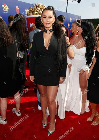 """Stock Picture of Jenni Farley. Jenni """"JWOWW"""" Farley arrives at the MTV Movie and TV Awards, at the Barker Hangar in Santa Monica, Calif"""