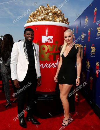 Lindsey Vonn, P. K. Subban. Lindsey Vonn, right, and P. K. Subban arrive at the MTV Movie and TV Awards, at the Barker Hangar in Santa Monica, Calif