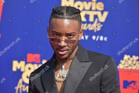 Algee Smith arrives at the MTV Movie and TV Awards, at the Barker Hangar in Santa Monica, Calif