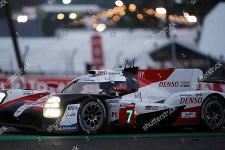 Toyota Gazoo Racing (starting no.7) in a Toyota TS050 Hybrid with Mike Conway of Great Britain, Kamui Kobayashi of Japan and Jose Maria Lopez of Argentina in action at sunrise during the Le Mans 24 Hours race in Le Mans, France, 16 June 2019.