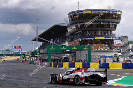 Stock Photo of Toyota Gazoo Racing (starting no.7) in a Toyota TS050 Hybrid with Mike Conway of Great Britain, Kamui Kobayashi of Japan and Jose Maria Lopez of Argentina in action during the Le Mans 24 Hours race in Le Mans, France, 16 June 2019.  The race is scheduled to finish at 3pm.