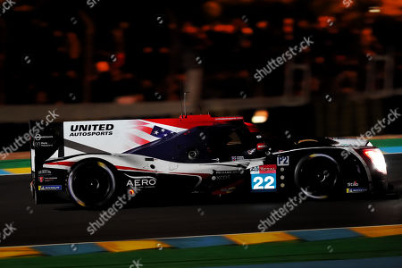 United Autosports (starting no.22) in a Ligier JS P217 Gibson with Phillip Hanson of Great Britain, Filipe Albuquerque of Portugal and Paul Di Resta of Great britain in action at night during the Le Mans 24 Hours race in Le Mans, France, 15 June 2019. The race is scheduled to finish at 3pm local time on 16 June.