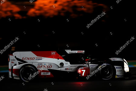 Toyota Gazoo Racing (starting no.7) in a Toyota TS050 Hybrid with Mike Conway of Great Britain, Kamui Kobayashi of Japan and Jose Maria Lopez of Argentina in action at night during the Le Mans 24 Hours race in Le Mans, France, 15 June 2019. The race is scheduled to finish at 3pm local time on 16 June.
