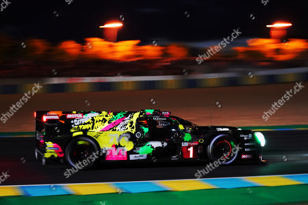 Stock Image of Rebellion Racing (starting no.1) in a Rebellion R13 Gibson with Andre Lotterer of Germany, Neel Jani of Switzerland and Bruno Senna of Brasil in action at night during the Le Mans 24 Hours race in Le Mans, France, 15 June 2019. The race is scheduled to finish at 3pm local time on 16 June.