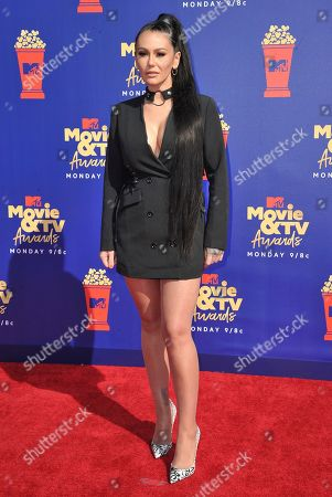 "Stock Photo of Jenni ""JWoww"" Farley arrives at the MTV Movie and TV Awards, at the Barker Hangar in Santa Monica, Calif"