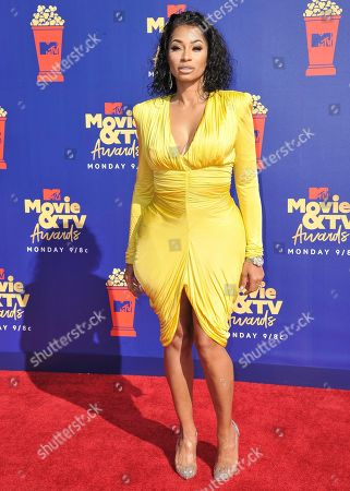 Karlie Redd arrives at the MTV Movie and TV Awards, at the Barker Hangar in Santa Monica, Calif