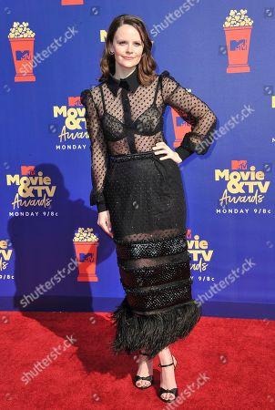 Sarah Ramos arrives at the MTV Movie and TV Awards, at the Barker Hangar in Santa Monica, Calif