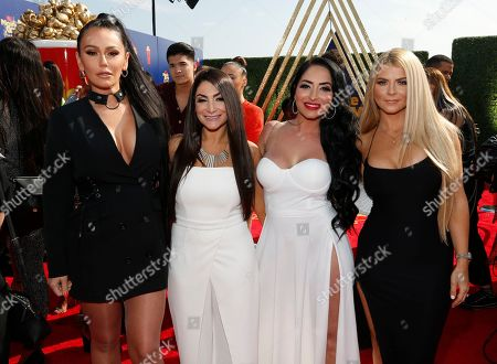 Jenni Farley, Deena Nicole Cortese, Angelina Pivarnick, Lauren Sorrentino. Jenni Farley, also known as JWoww, from left, Deena Nicole Cortese, Angelina Pivarnick and Lauren Sorrentino arrive at the MTV Movie and TV Awards, at the Barker Hangar in Santa Monica, Calif