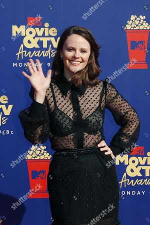 Stock Picture of Sarah Ramos arrives for the 2019 MTV Movie & TV Awards at the Barker Hangar, Santa Monica, California, USA, 15 June 2019. The movies are nominated by producers and executives from MTV and the winners are chosen online by the general public.