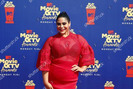 Stock Image of Jessica Marie Garcia arrives for the 2019 MTV Movie & TV Awards at the Barker Hangar, Santa Monica, California, USA, 15 June 2019. The movies are nominated by producers and executives from MTV and the winners are chosen online by the general public.